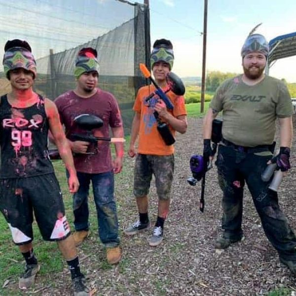 4 male paintball players at Urban Assault Paintball